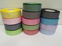 Light Grey 2 metres or full roll x 25mm Gingham Ribbon Double Sided check UK